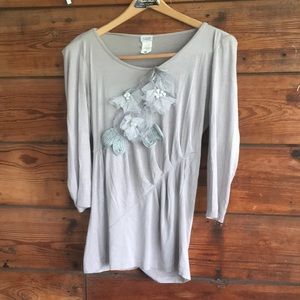 Charming Charlie Tops - soft gray shirt with fun detailing!